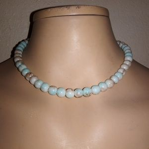 Blue, beige, and brown glass beaded Necklace